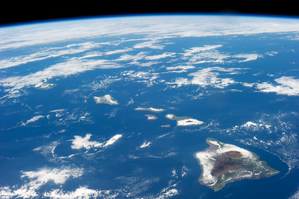 Aerial view of Hawaii from space! Bottom right to left: Big Island (Hawaii), Maui, Lanai, Molokai, Kohoolawe, Oahu, Kauai