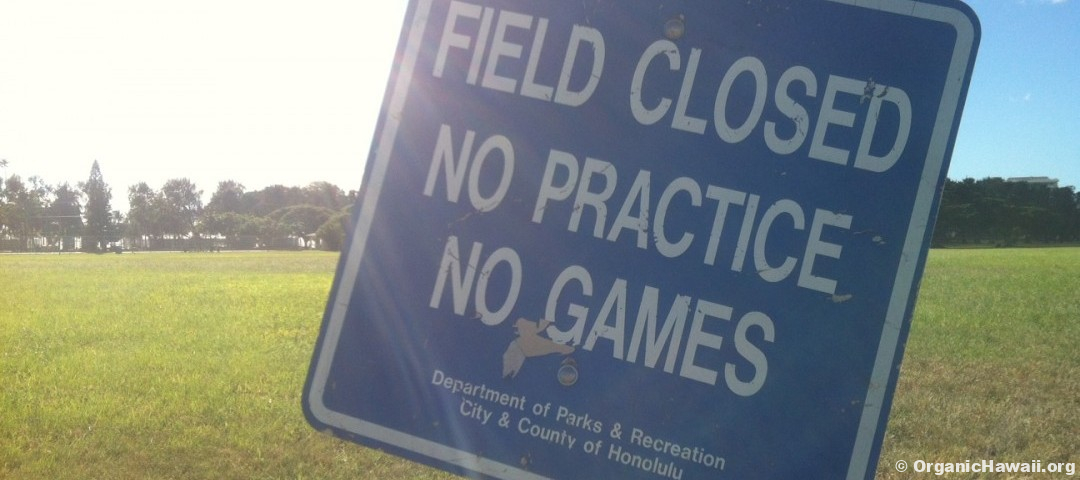 "Kapiolani Park herbicide sign posted: ""Field closed, No Practice, No Games"" 